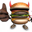 Stock Photo: Hamburger devil thumbs up