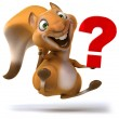 3d squirrel smiling and holding up a question mark — Stock Photo #27288243