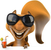 3d happy squirrel with a cocktail — Stock Photo
