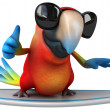 Fun parrot surfing — Stock Photo