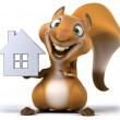 Fun squirrel with house — Stock Photo #28182763