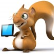 Fun squirrel with digital tablet — Stock Photo #28182853