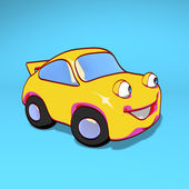 Fun yellow car — Stockfoto