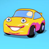 Fun yellow car — Stok fotoğraf