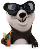 Fun panda on vacation with coctail — Stock Photo