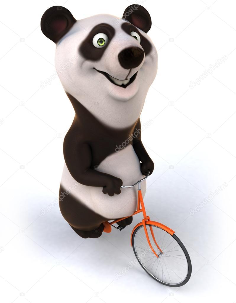 快乐熊猫 3d 骑自行车– 图库图片