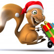 Squirrel in santa hat — Stock Photo #31336329