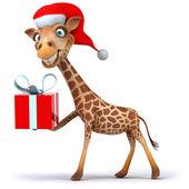 长颈鹿圣诞老人 — 图库照片