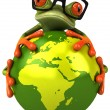 Frog protecting the earth — 图库照片