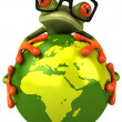 Frog protecting the earth — Stok fotoğraf