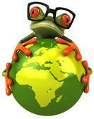 Frog protecting the earth — Stock Photo