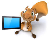 Squirrel with tablet computer — Stock Photo