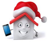 Santa House with сomputer — Stock Photo