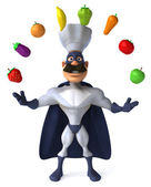 Super Chef juggling vegetables — Stock Photo