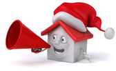Santa House with megaphone — Stock Photo
