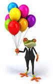 лягушка с воздушными шарами — Стоковое фото