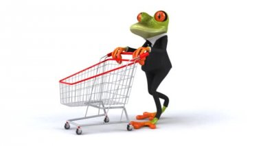 Fun frog wit shopping cart — Stock Video