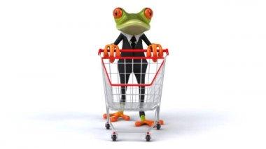 Fun frog wit shopping cart — Stock Video