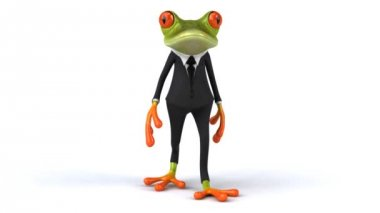 Green frog walk — Stock Video