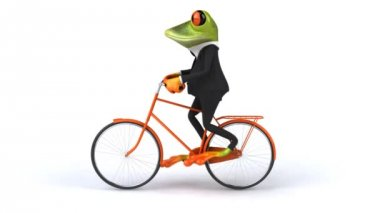 Fun frog in suit rides bike — Stock Video