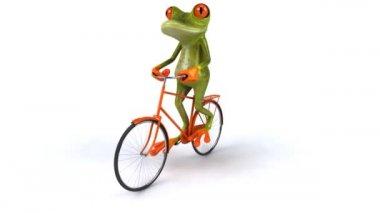 Fun frog rides bike — Stock Video