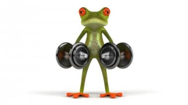 Fun frog with weights — Stock Video