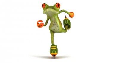 Green frog skating — Stock Video