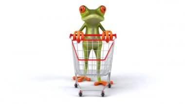 Fun frog with shopping cart — Stock Video