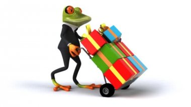 Fun frog in suit with presents — Stock Video