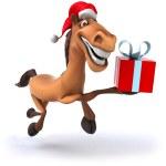 Horse in Santa hat — Foto de Stock
