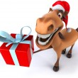 Horse  in Santa hat — Stock Photo