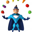 Superhero and vegetables — Stock Photo