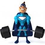 Super hero lifting weights — Stock Photo #36327311