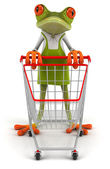 Frog with a shopping cart — ストック写真