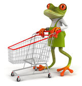 Frog with a shopping cart — 图库照片