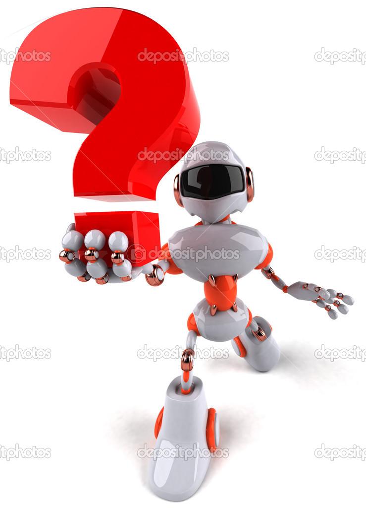 機器人和問號– 圖庫圖片圖片