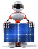 Robot with solar panel — Foto de Stock