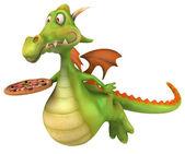 Dragon and pizza — Stok fotoğraf