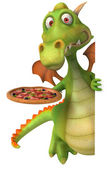Dragon and pizza — Stock Photo