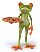 Frog with pizza — Foto de Stock