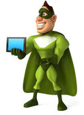 Superhero with tablet — Foto Stock