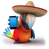 Parrot in a sombrero with a smartphone — Stockfoto