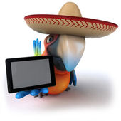 Parrot in a sombrero with a tablet — Stock Photo