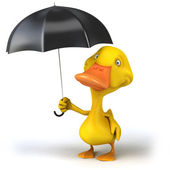 Duck and umbrella — Stock Photo