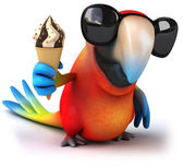 Fun parrot with ice cream — 图库照片
