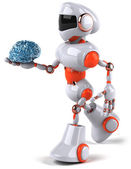 Robot is holding a brain — Stock Photo
