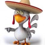 Chicken in sombrero hat — Stock Photo #48849417