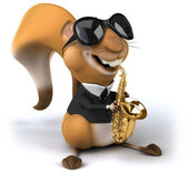 Squirrel playing saxophone — Stock Photo