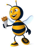 Cartoon 3d bee with french fries — Stock Photo