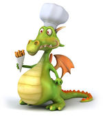 Dragon Chef 3d illustration — 图库照片